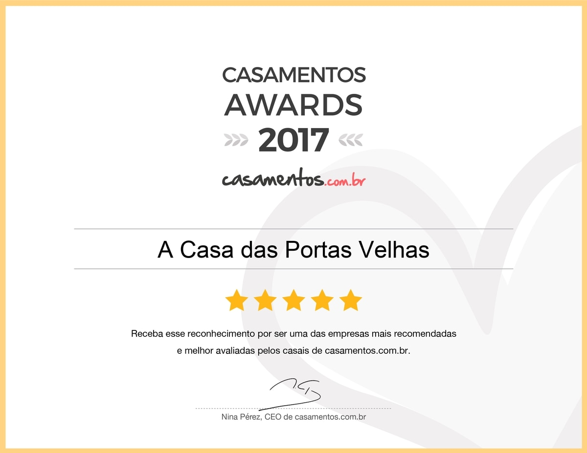 A Casa das Portas Velhas recebeu o prêmio Casamentos Awards 2017